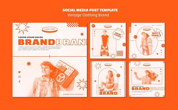 Modelo de postagens de marca de roupas vintage Psd grátis