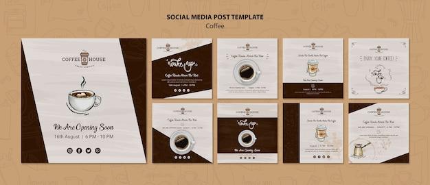 Modelo de postagens de mídia social de cafeteria Psd grátis