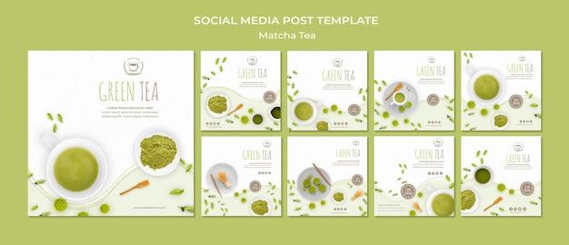 Modelo de postagens de mídia social de chá verde Psd grátis
