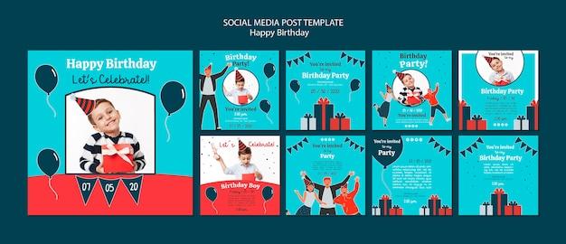 Modelo de postagens de mídia social de comemoração de aniversário Psd grátis