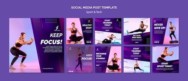 Modelo de postagens de mídia social de esportes e tecnologia Psd Premium