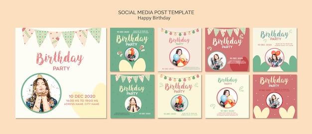 Modelo de postagens de mídia social de festa de aniversário com foto Psd grátis