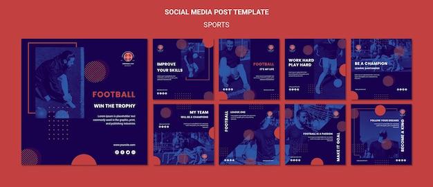 Modelo de postagens de mídia social de jogador de futebol Psd grátis