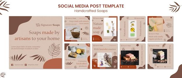 Modelo de postagens de sabão caseiro em mídia social Psd Premium