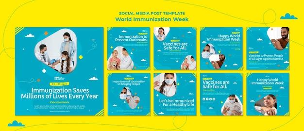 Modelo de postagens do instagram da semana mundial de vacinação Psd Premium