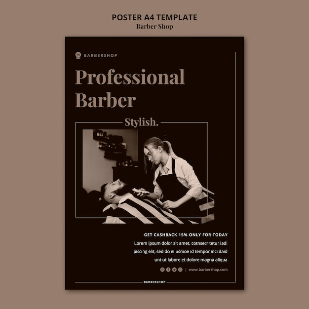 Modelo de pôster a4 de barbearia Psd grátis