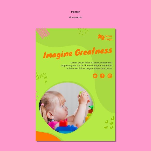 Modelo de pôster a4 para jardim de infância com foto Psd grátis