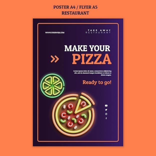 Modelo de pôster abstrato de restaurante com pizza neon Psd grátis