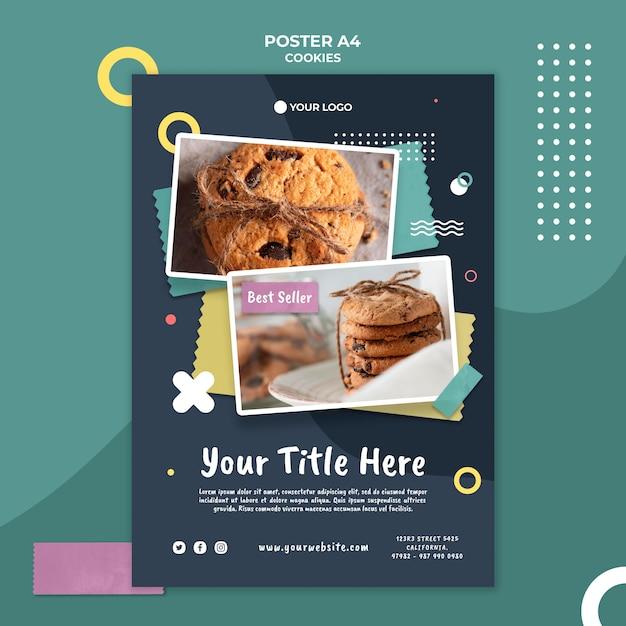 Modelo de pôster da loja de biscoitos Psd Premium