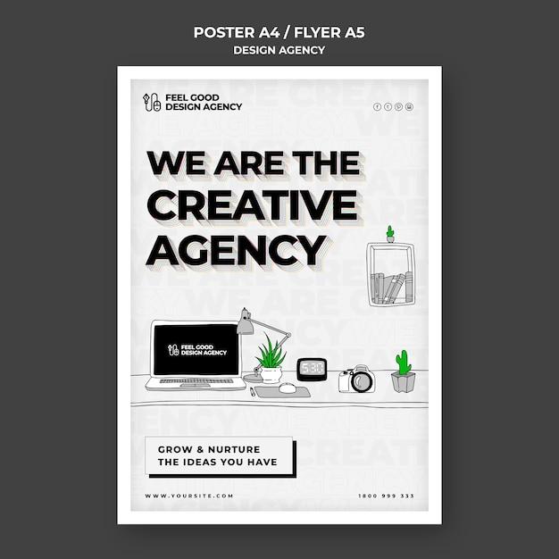 Modelo de pôster de agência de design criativo Psd grátis