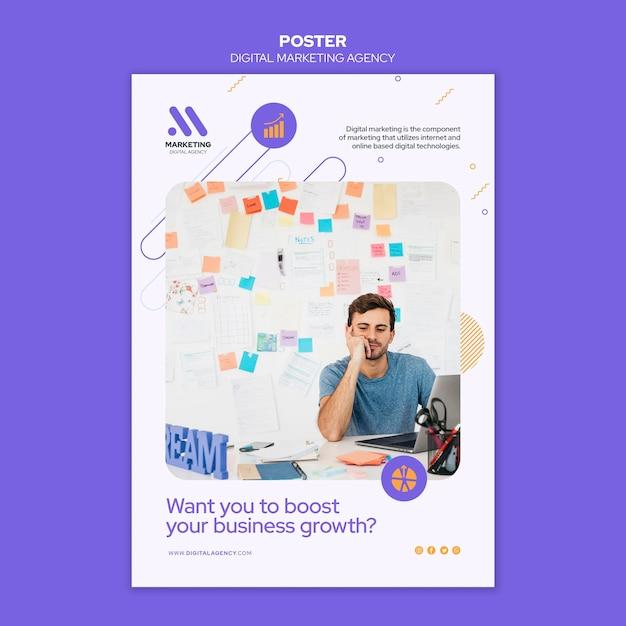 Modelo de pôster de agência de marketing digital Psd grátis