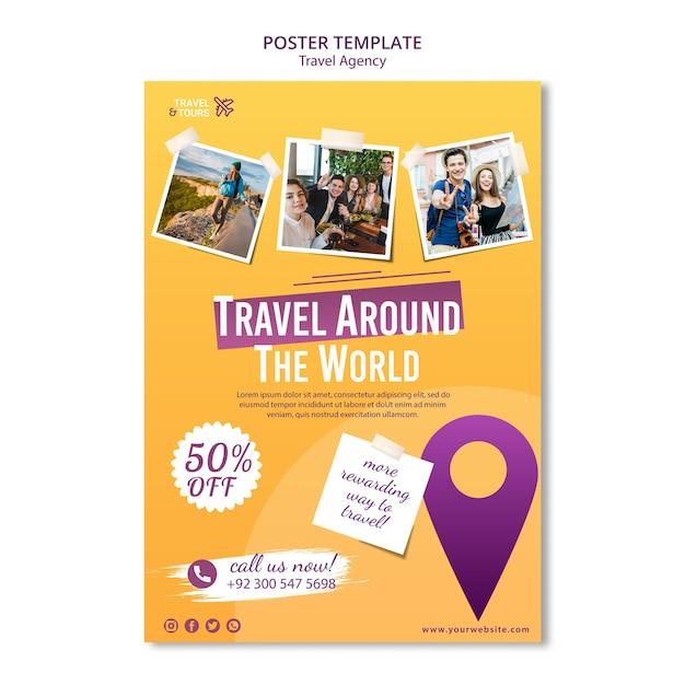 Modelo de pôster de agência de viagens Psd Premium