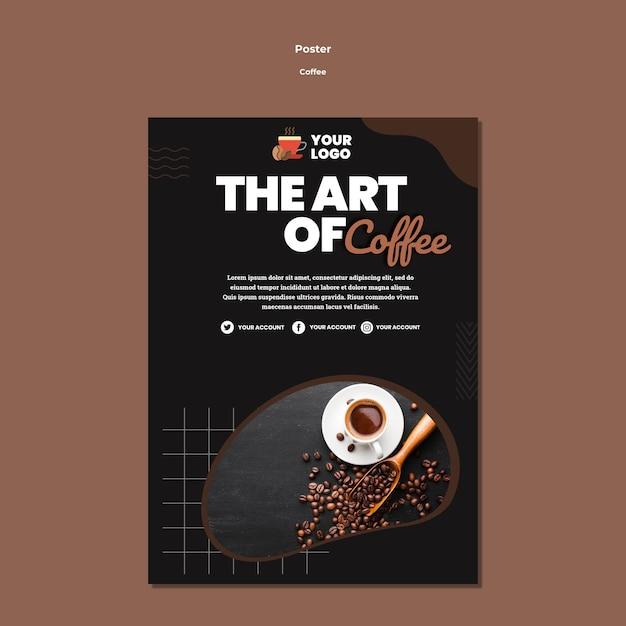 Modelo de pôster de arte do café Psd grátis