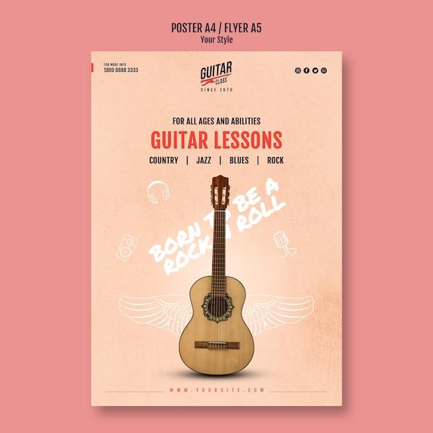 Modelo de pôster de aulas de guitarra Psd grátis