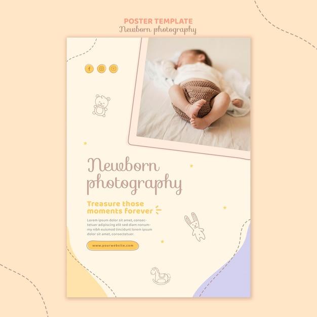 Modelo de pôster de bebê fofo e sonolento Psd grátis