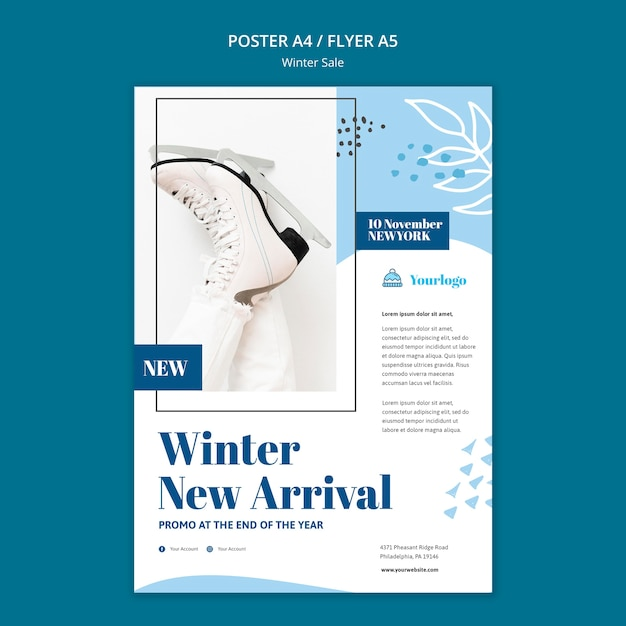 Modelo de pôster de coleção de venda de inverno Psd grátis