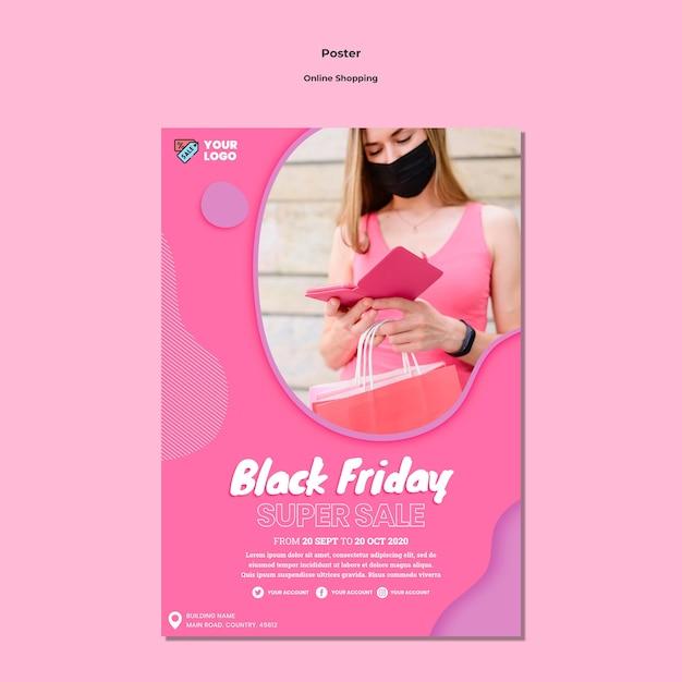 Modelo de pôster de compras online Psd grátis