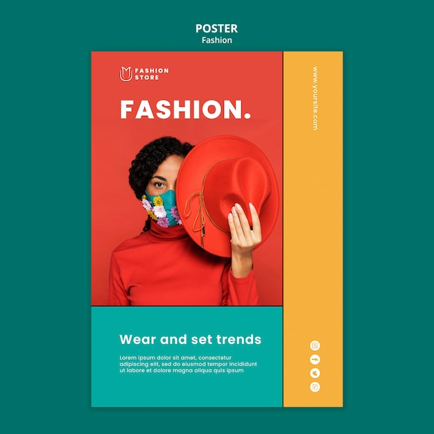 Modelo de pôster de conceito de moda Psd Premium
