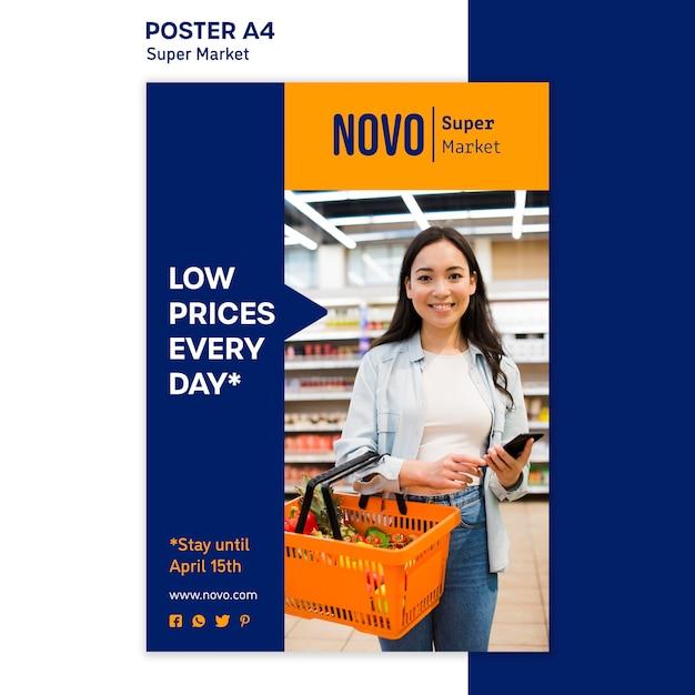 Modelo de pôster de conceito de supermercado Psd grátis