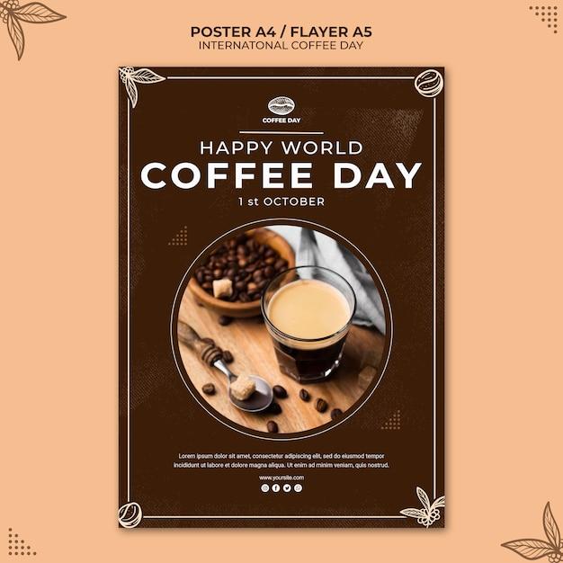 Modelo de pôster de conceito do dia internacional do café Psd grátis