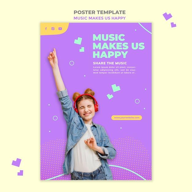 Modelo de pôster de conceito musical Psd grátis