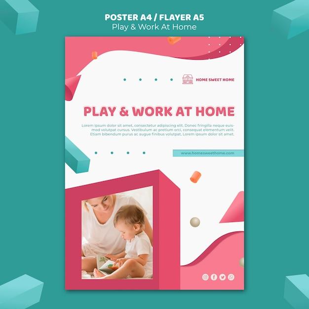 Modelo de pôster de conceito para brincar e trabalhar em casa Psd grátis