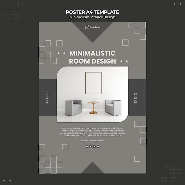 Modelo de pôster de design de interiores minimalista Psd grátis