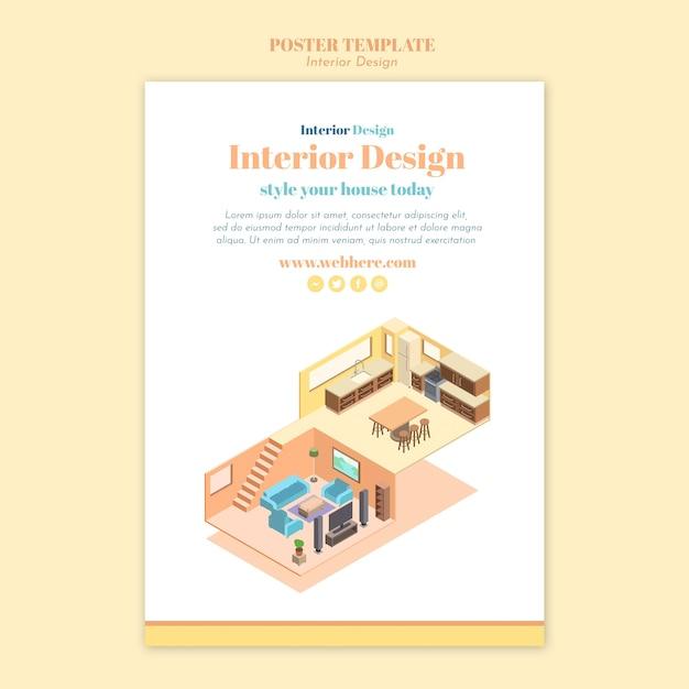 Modelo de pôster de design de interiores Psd grátis