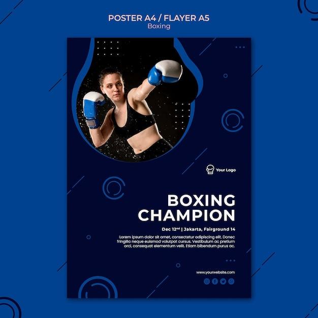 Modelo de pôster de esporte de treino campeão de boxe Psd grátis