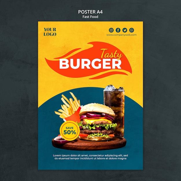 Modelo de pôster de fast food Psd Premium