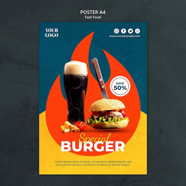 Modelo de pôster de fast food Psd grátis