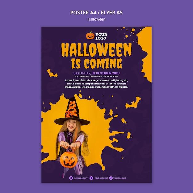Modelo de pôster de festa de halloween Psd grátis