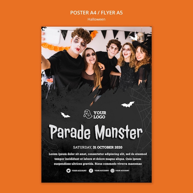 Modelo de pôster de festa de halloween Psd Premium