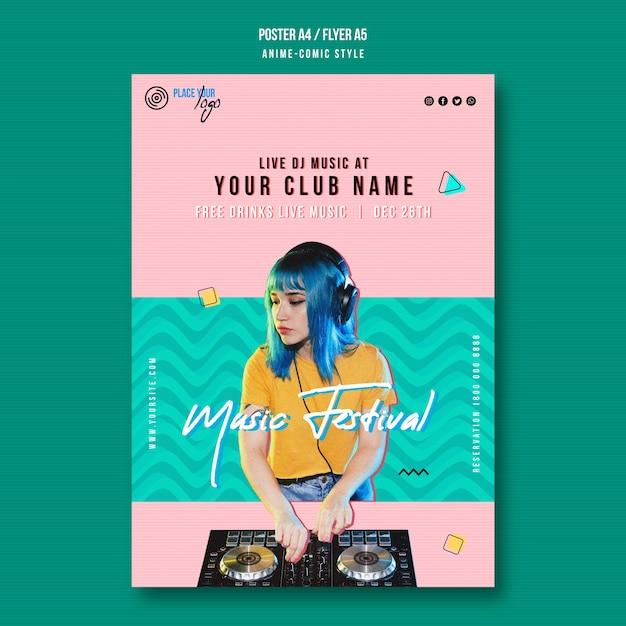 Modelo de pôster de festival de música de menina com cabelo azul Psd grátis
