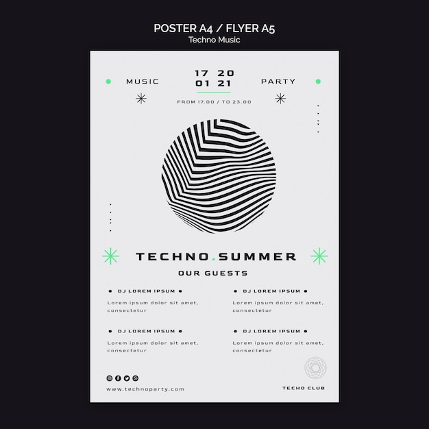 Modelo de pôster de festival de verão de música techno Psd grátis