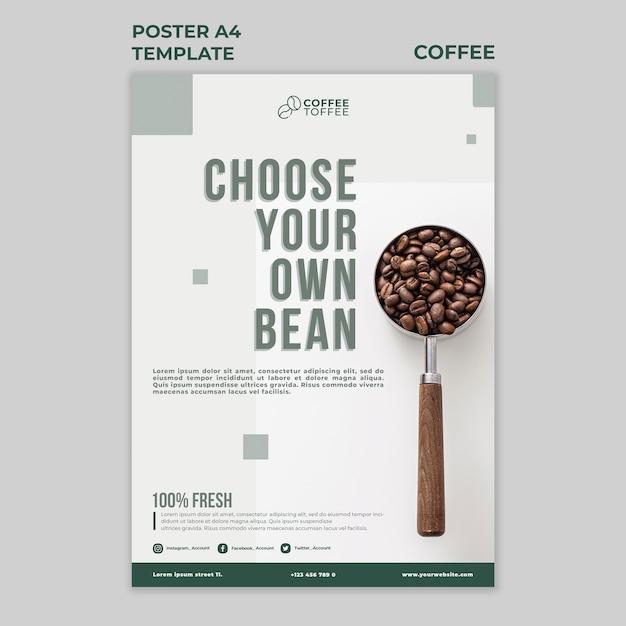 Modelo de pôster de grãos de café a4 Psd grátis