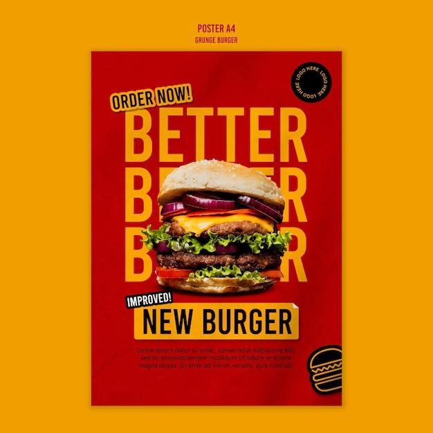 Modelo de pôster de hambúrguer grunge Psd grátis