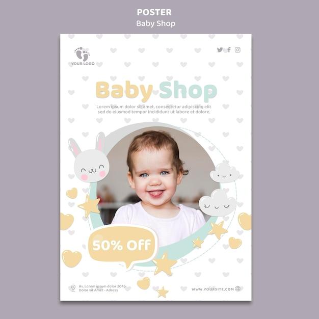 Modelo de pôster de loja de bebês Psd grátis