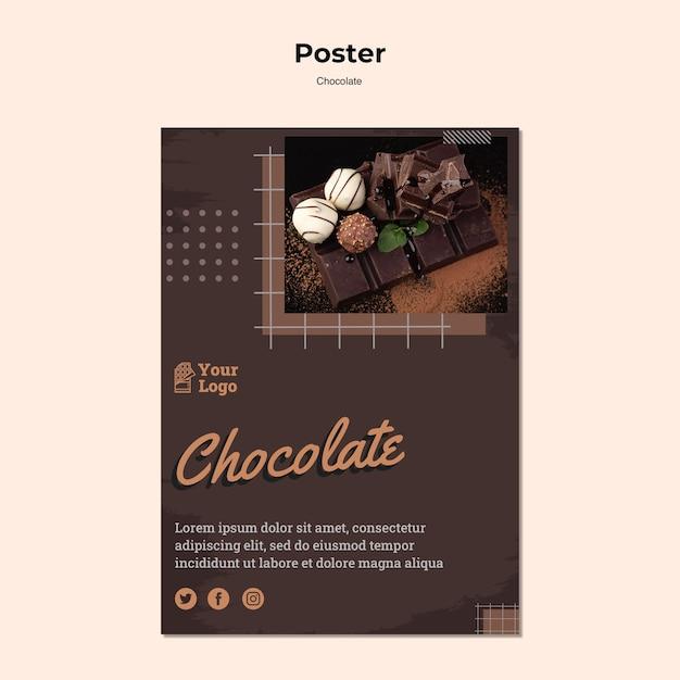 Modelo de pôster de loja de chocolates Psd grátis