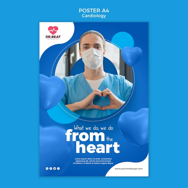 Modelo de pôster de médico de cardiologia usando máscara Psd Premium