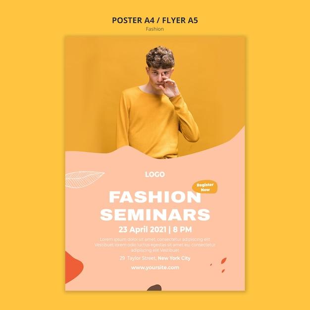 Modelo de pôster de moda masculina para seminários Psd grátis