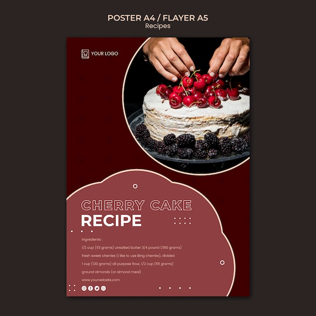 Modelo de pôster de receitas de sobremesa Psd grátis