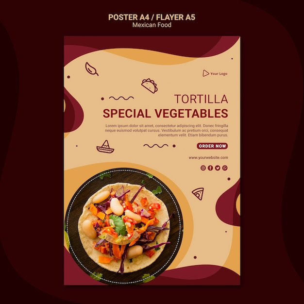 Modelo de pôster de restaurante mexicano Psd Premium