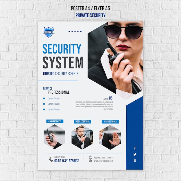 Modelo de pôster de serviços de segurança Psd grátis