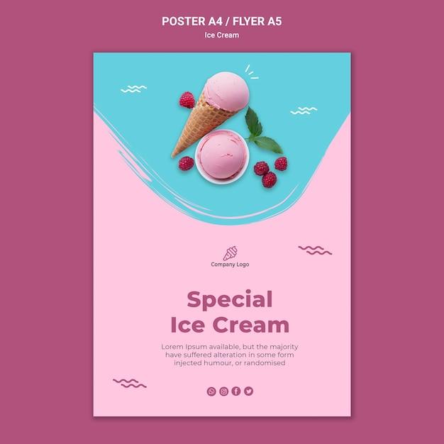 Modelo de pôster de sorveteria Psd grátis