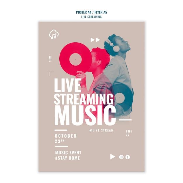 Modelo de pôster de streaming de música ao vivo Psd grátis