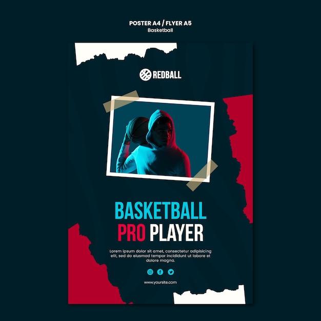 Modelo de pôster de treinamento de basquete Psd grátis