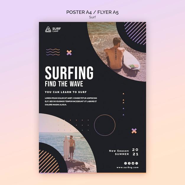 Modelo de pôster de treinamento de surf Psd grátis