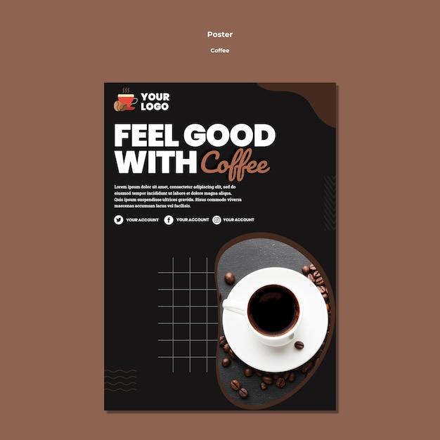 Modelo de pôster de xícara de café Psd grátis