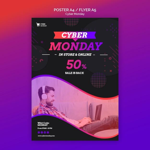 Modelo de pôster do conceito cyber monday Psd grátis